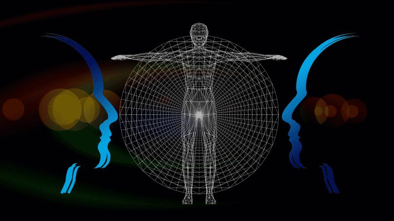 Silhueta de homens. O homem no centro da imagem remete o processo evolutivo