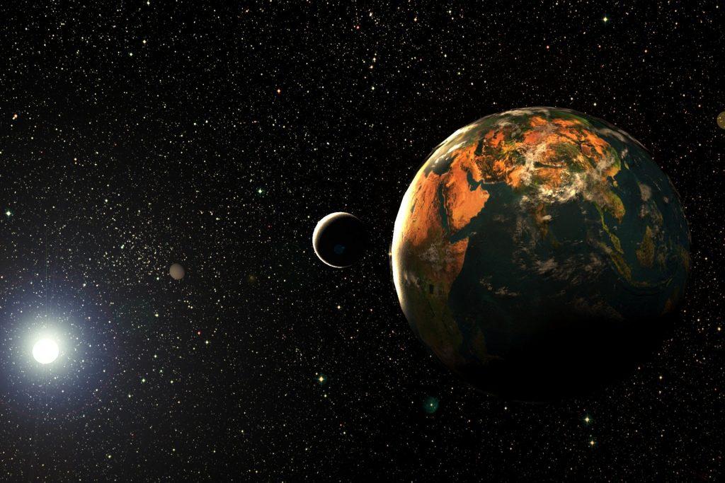 Imagem da Lua e os planetas no universo estrelado representando a transição planetária.