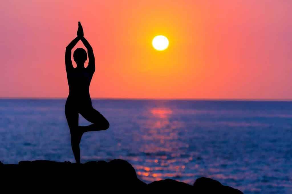 Silhueta de uma pessoa praticando a Vrksasana em frente ao mar, ao pôr do sol.