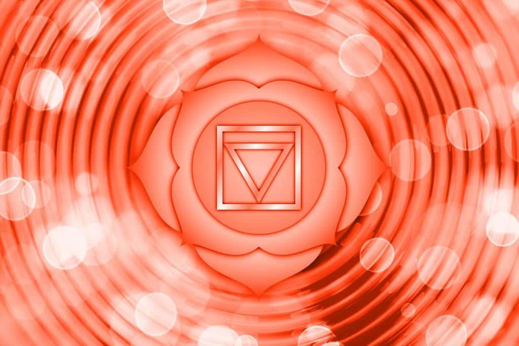 Imagem em 3 D do chakra na cor laranja.