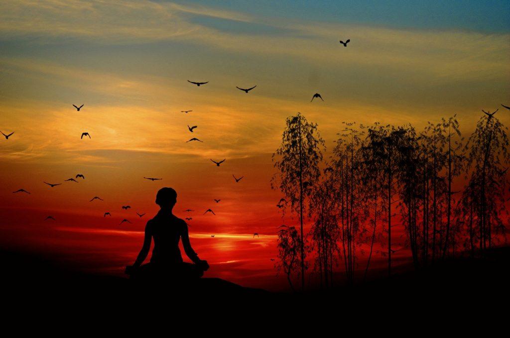 Imagem do por do sol e uma mulher sentada em uma pedra fazendo uma meditação. Ao fundo, vários pássaros sobrevoam o céu vermelho.