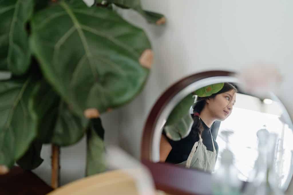 Reflexo de uma mulher vista de perfil em um espelho, com plantas ao lado.