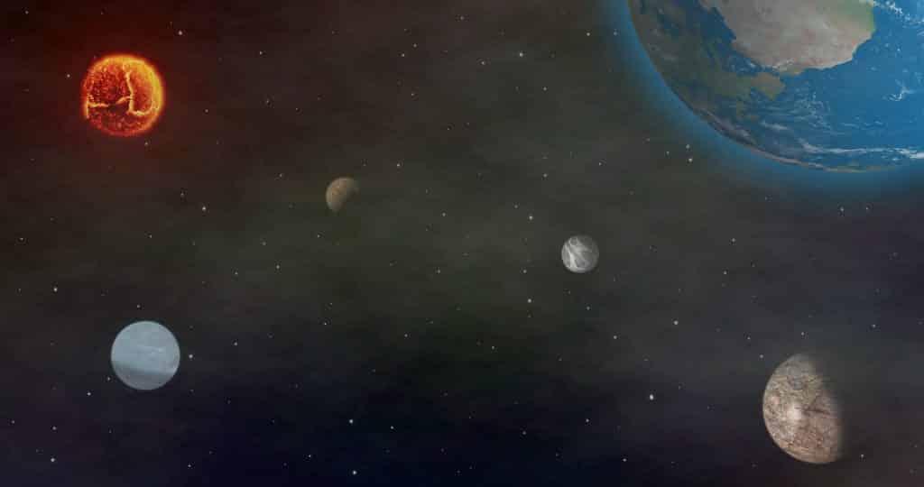 Imagem do universo e vários planetas. A imagem representa a transição planetária.
