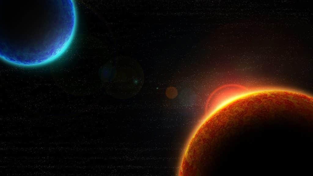Imagem dos planetas no universo representando a transição planetária.
