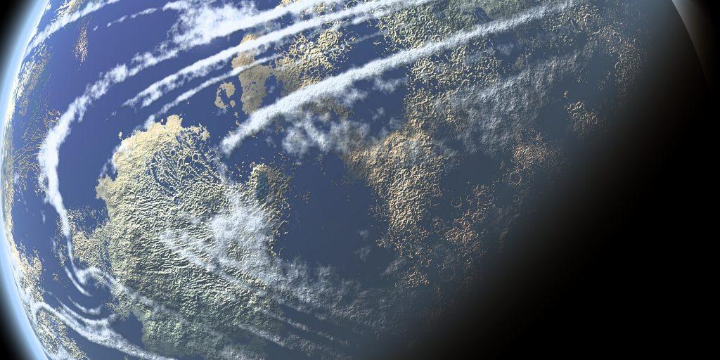 Imagem do planeta terra representando a transição planetária.