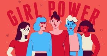 """Ilustração de mulheres com escrito """"Girl Power"""" ao fundo"""