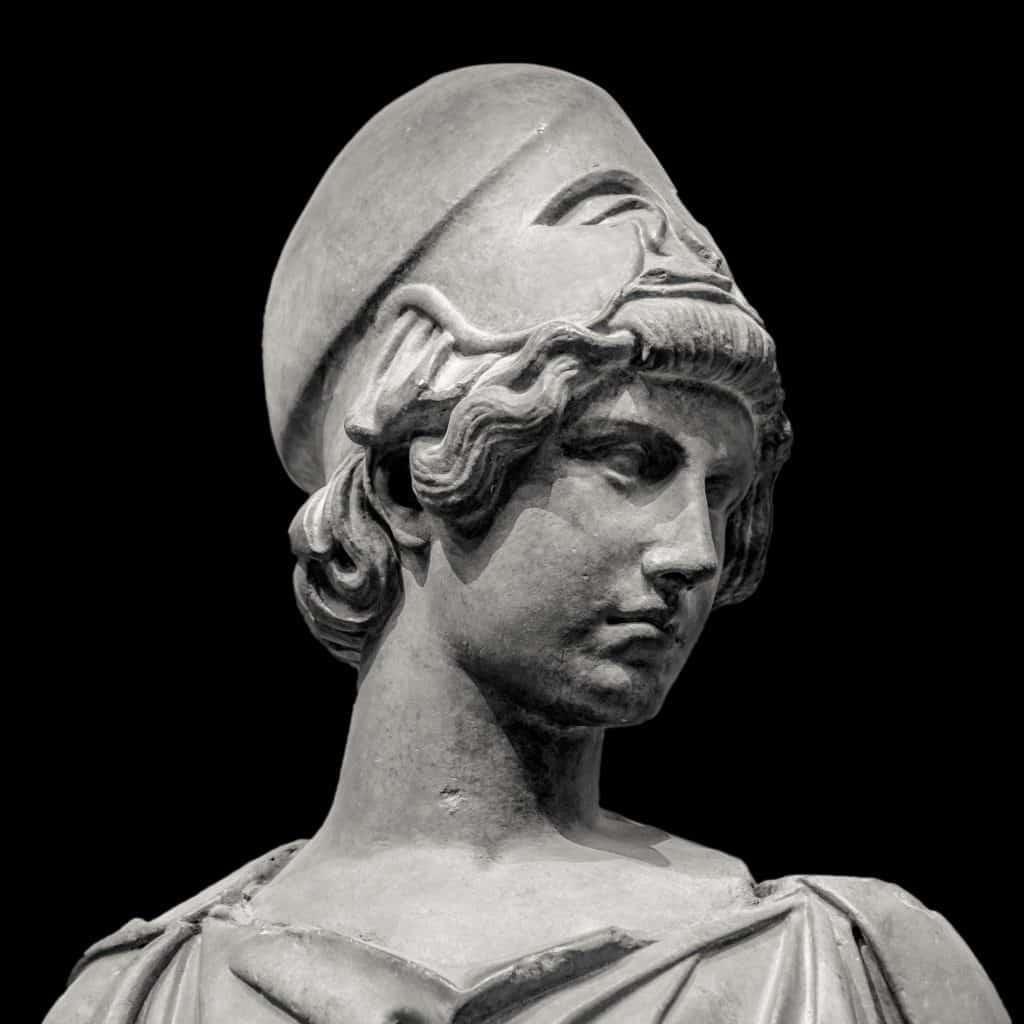 Imagem em preto e branco do busto da Deus Atena.