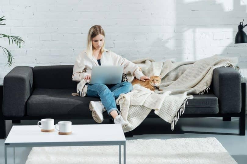 Mulher no sofá com notebook no colo fazendo carinho em cachorro ao lado