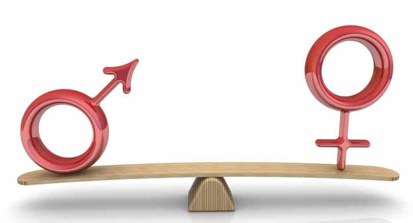 Imagem dos símbolos masculino e feminino em 3D sendo equilibrados em uma prancha de madeira, representando a igualdade de gênero.