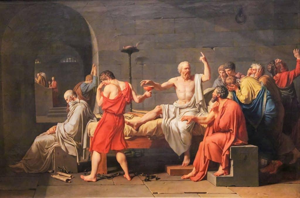 Imagem de Sócrates filosofando.