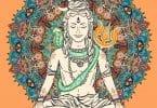 Ilustração de Shiva sorrindo com os olhos fechados