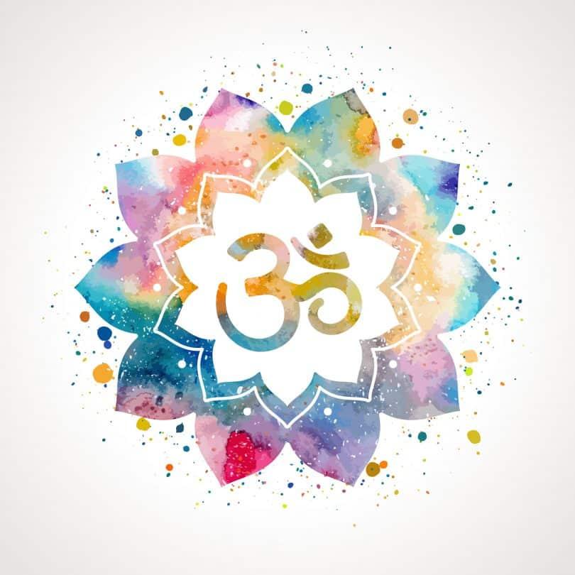 Símbolo OM numa mandala colorida