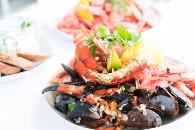 Prato com frutos do mar