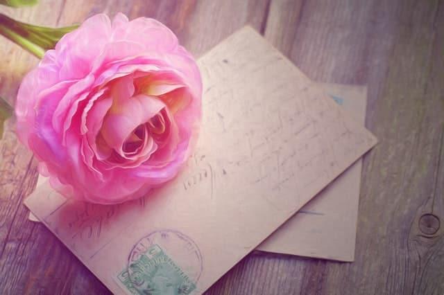 Cartas com flor rosa em cima
