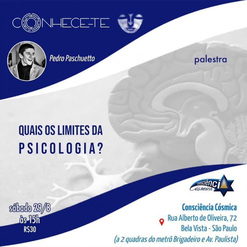 "Flyer de palestra ""Quais os limites da Psicologia?"""