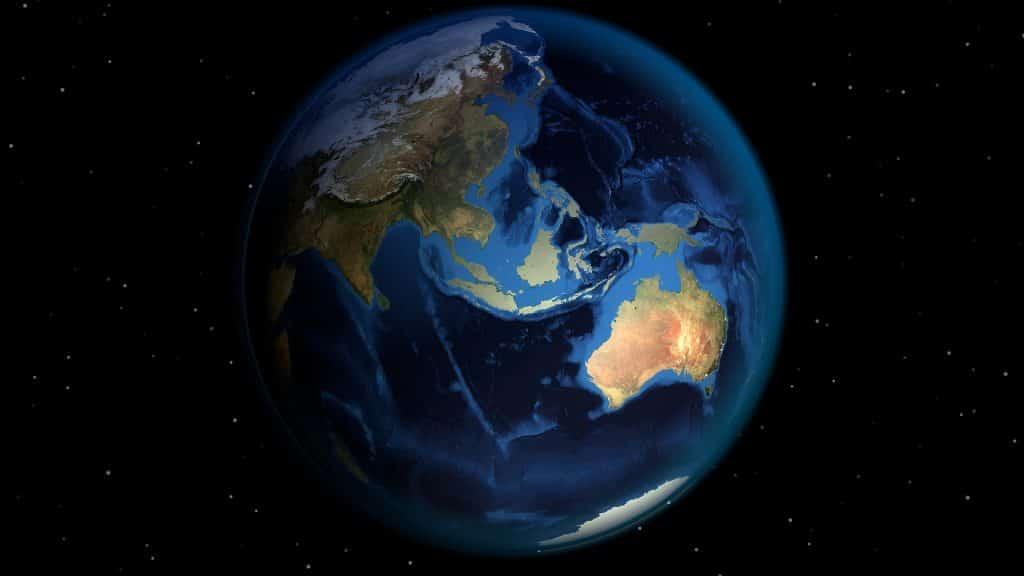 Imagem do planeta terra todo iluminado.