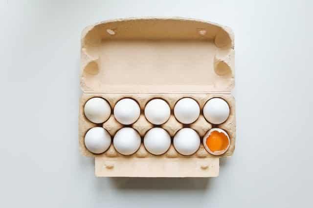 Caixa de ovo vista de cima