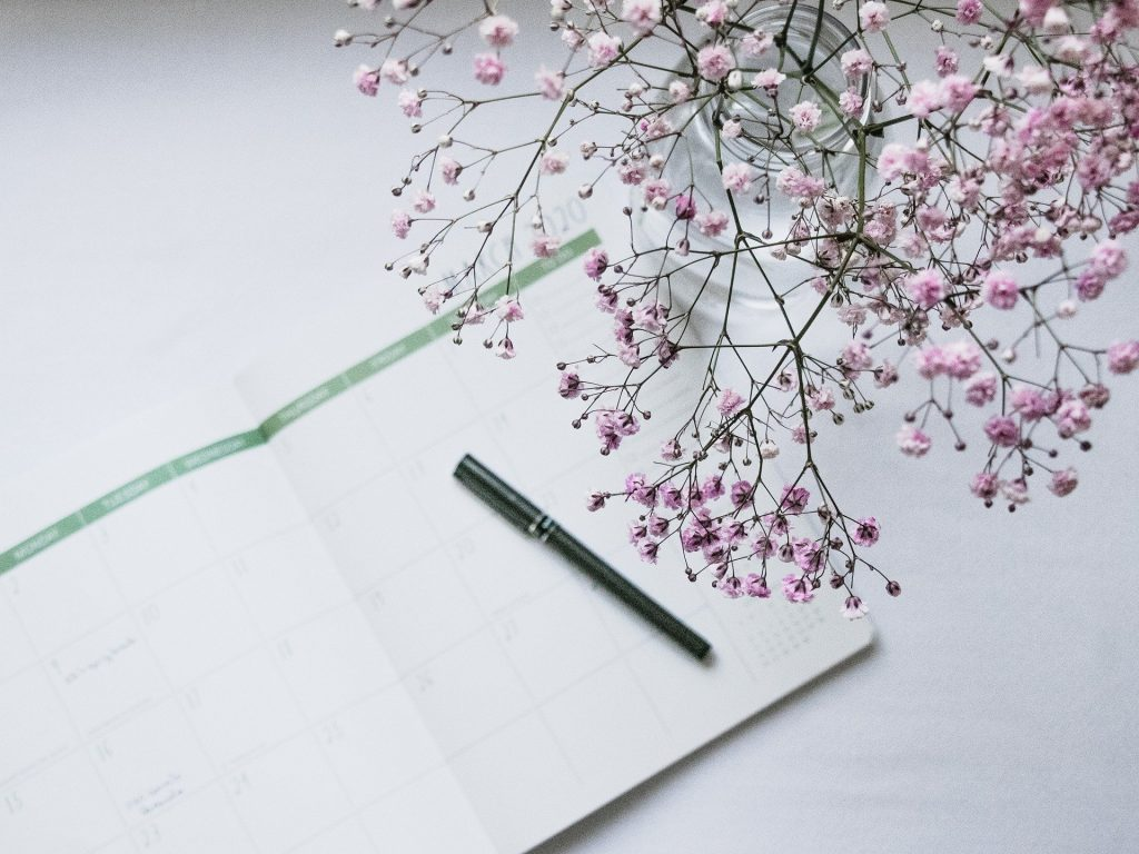 Imagem de uma agenda aberta e sobre ela uma caneta preta. Ao lado um vaso com lindas e pequenas flores rosas.