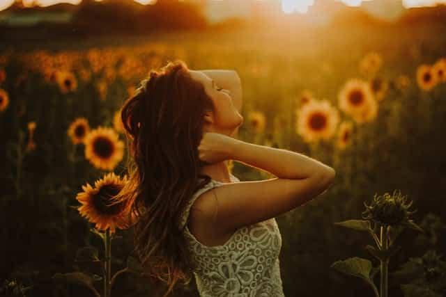 Mulher com mãos nos cabelos em campo de girassóis com sol refletido