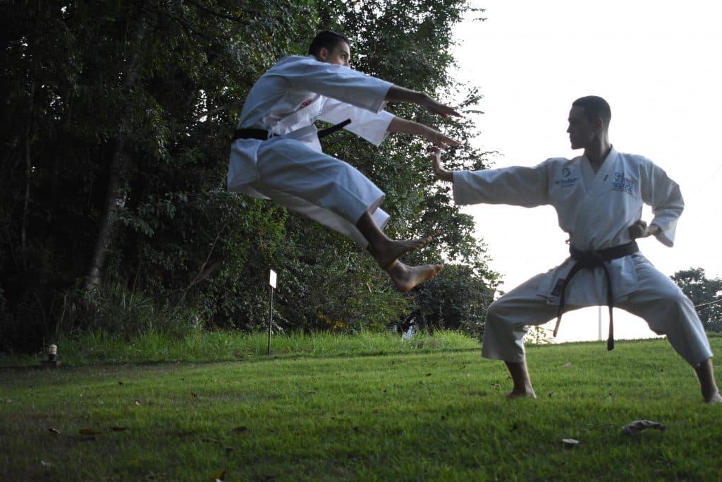 Dois homens praticando artes marciais em um gramado