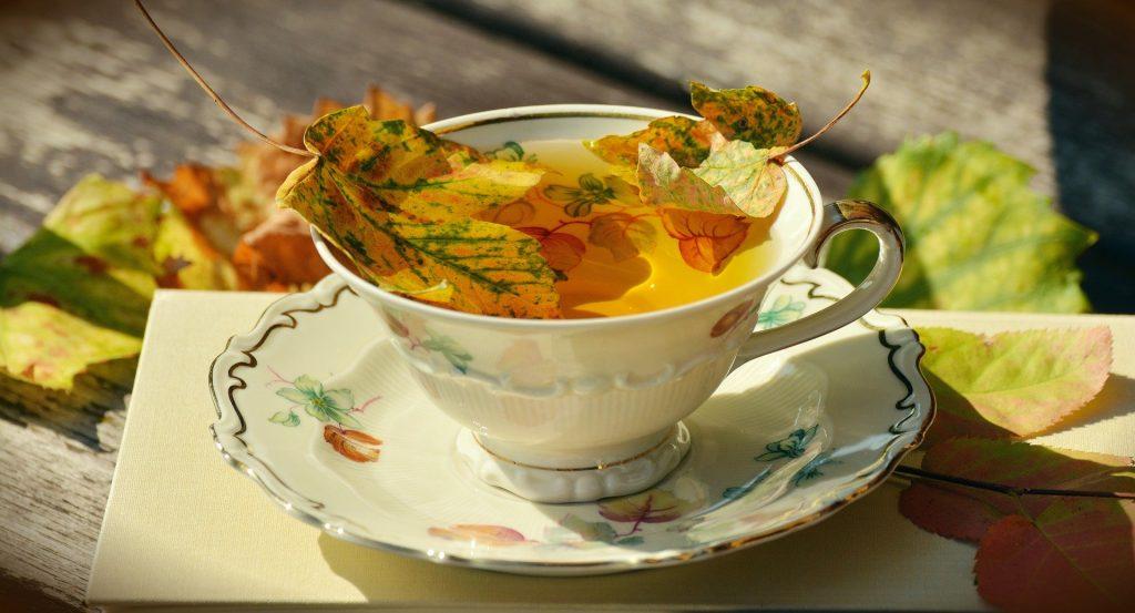 Imagem de uma xícara de chá com uma folha grande de erva sobre um pires. A xícara está com Chá caseiro para dor de estômago.
