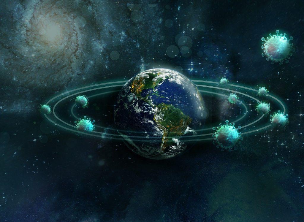 Imagem do universo e do planeta terra envolto do Coronavírus.
