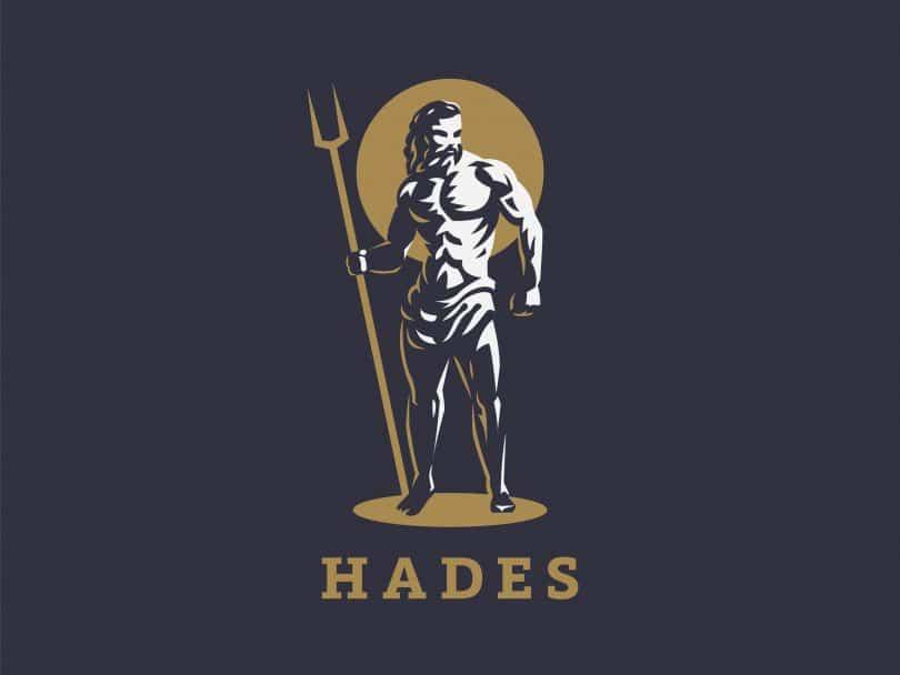 Ilustração de Hades como um homem forte segurando um cetro de dois dentes.
