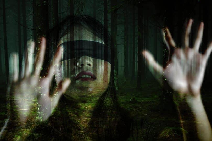 Imagem de um dos atores do filme Bird Box. Ela está com os olhos vendados e com as mãos sobre uma janela de vidro.