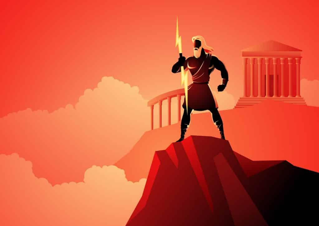 Ilustração de Zeus em uma montanha