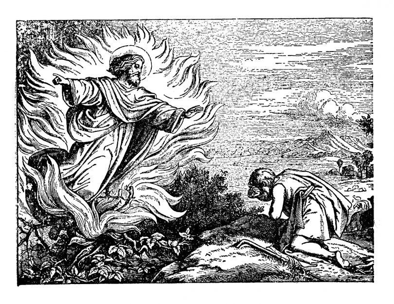Imagem em preto e branco de Deus aparecendo a um homem ajoelhado.