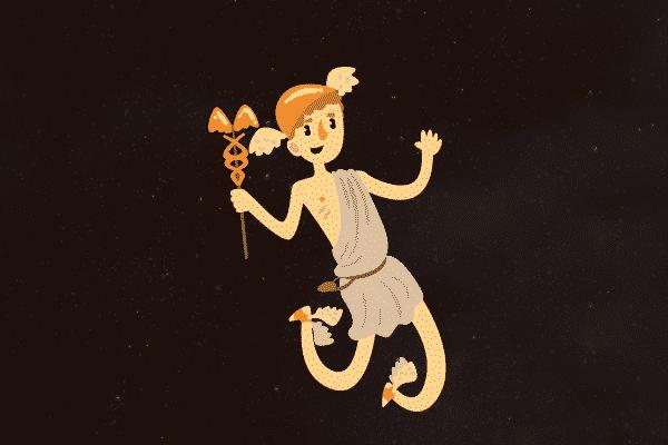 Ilustração de Hermes sorrindo
