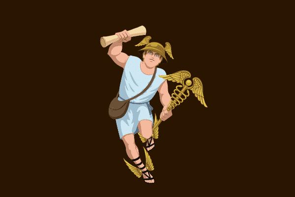 Ilustração do Hermes segurando um pergaminho
