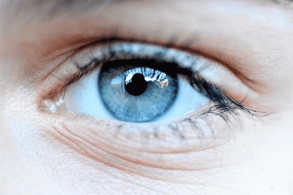 Olho cinza visto de perto