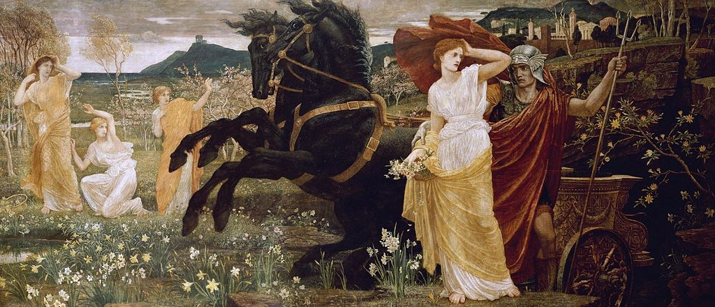 Pintura colorida de dois cavalos ao lado de Hades, pintado como um homem segurando um tridente com uma das mãos e a outra segurando Perséfone, retratada como uma mulher de vestido branco.