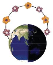Ilustração do planeta Terra dividido ao meio, entre dia e noite, com um arco de flores acima.