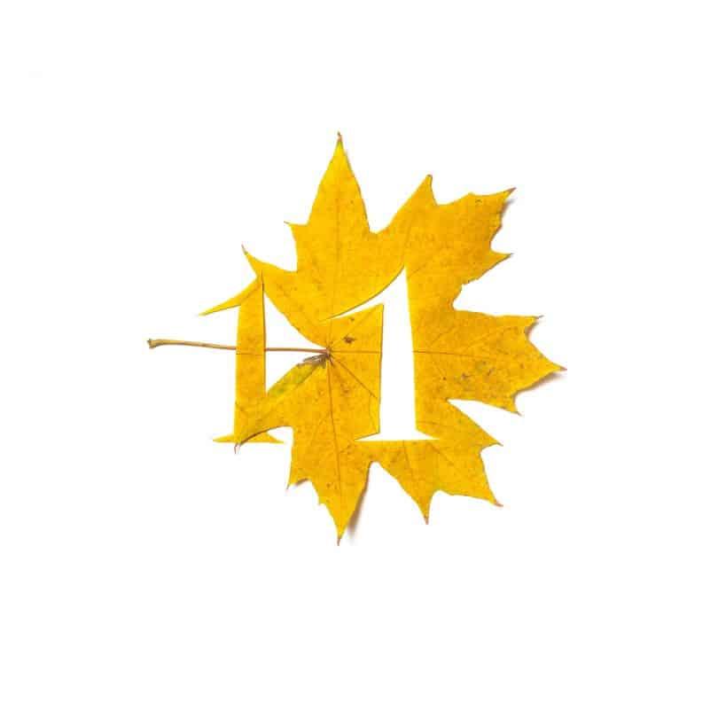 Número 1 recortado em uma folha amarela.
