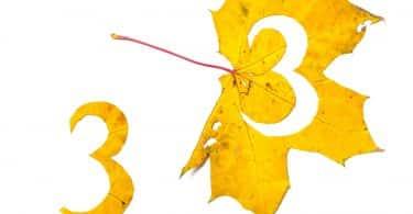 Número três recortado de uma folha amarela.
