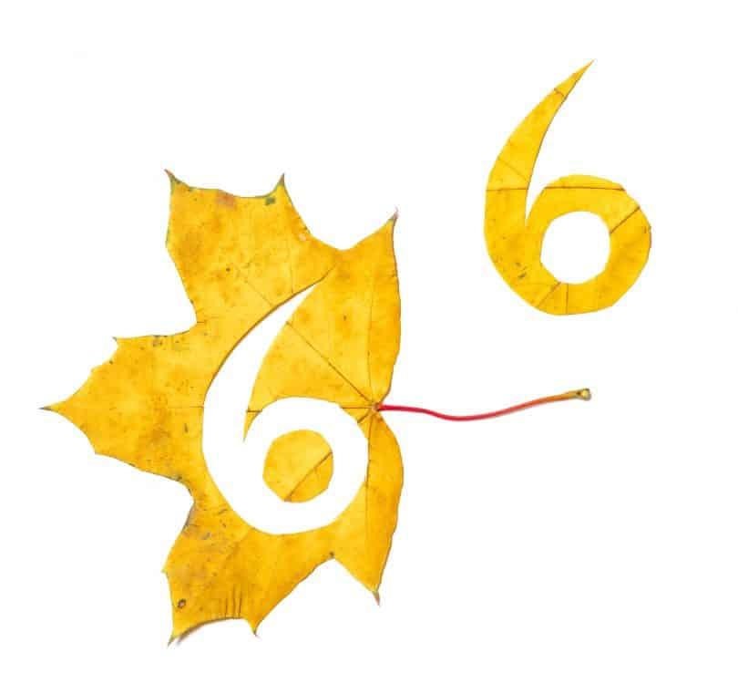 Número seis recortado de uma folha amarela.