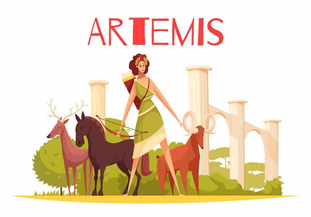 Ilustração de Ártemis ao lado de animais