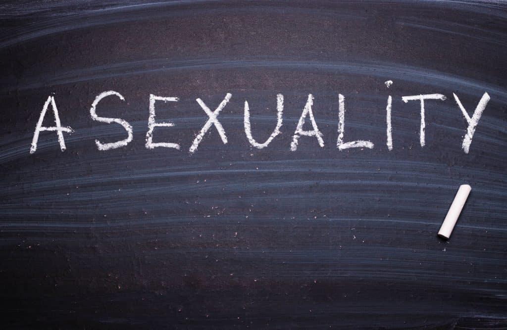 """Palavra """"Asexuality"""" escrita em giz numa lousa."""