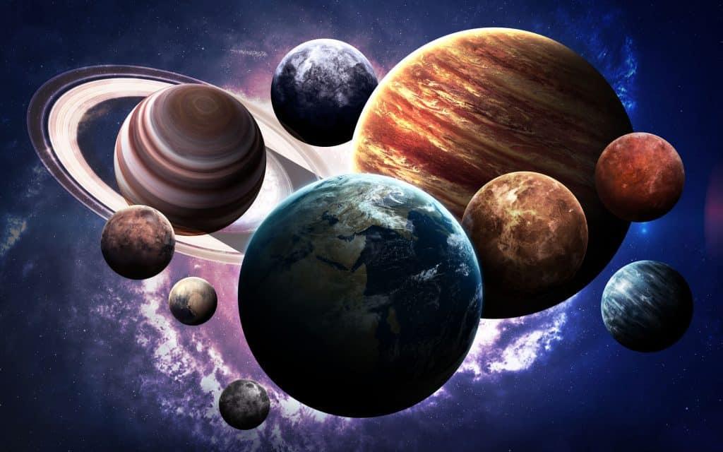 Ilustração de planetas um ao lado do outro