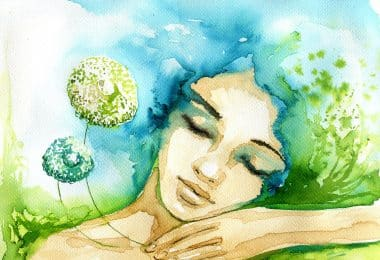 Arte em aquarela nas cores bege, azul e verde, retratando uma mulher de olhos fechados.