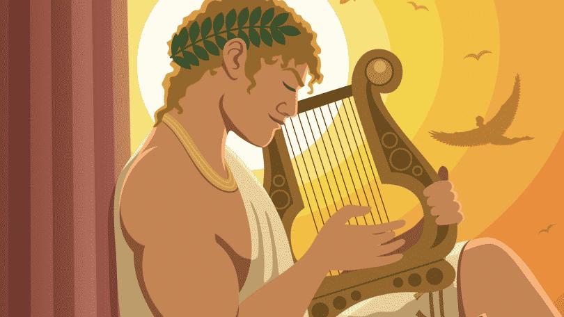 Ilustração de Apolo de olhos fechados segurando uma arpa