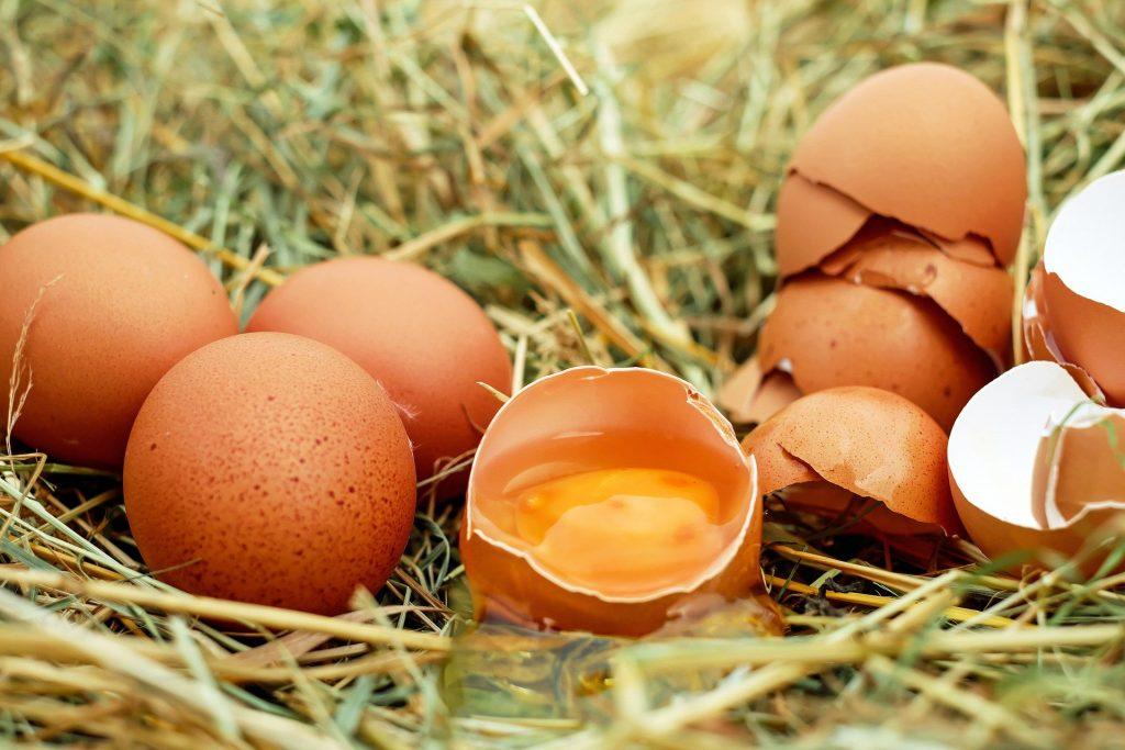 Imagem de vários ovos de casca vermelha. Alguns estão inteiros e outros já quebrados e um dos quebrados está com a sua gema e clara à mostra.