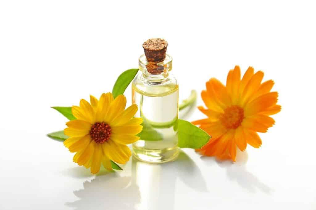 Imagem de um frasco contendo óleo essencial. Ao lado dele, duas flores na cor laranja.