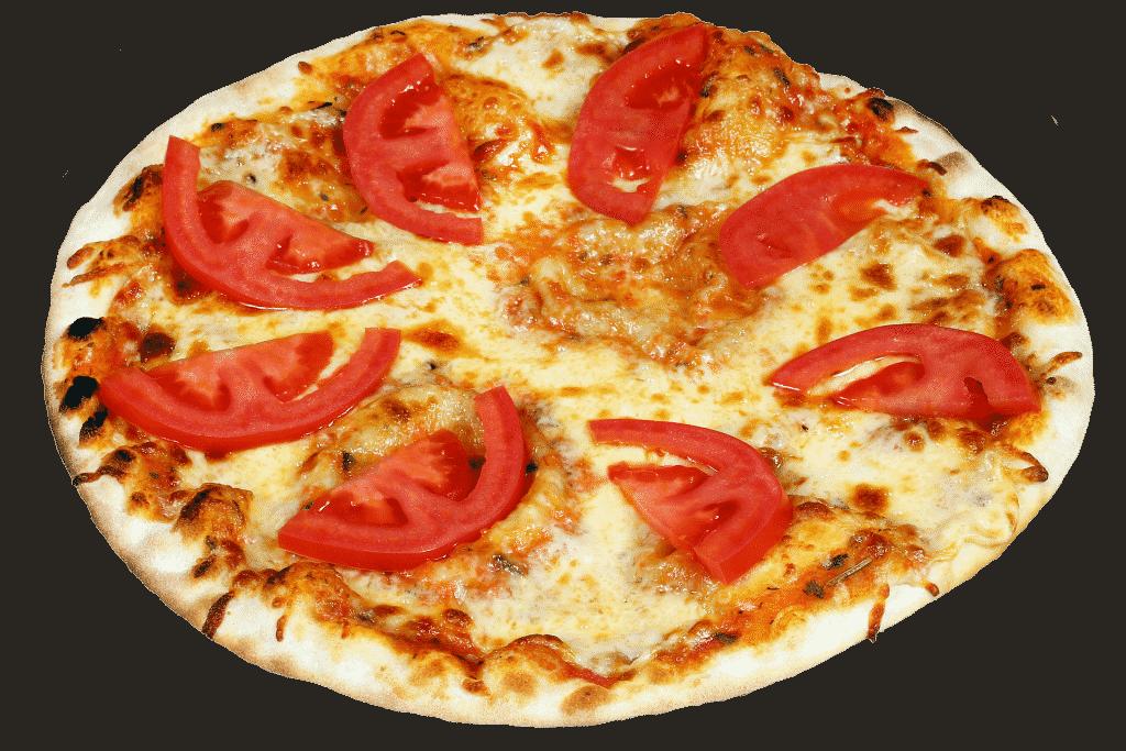 Imagem de uma linda e saborosa pizza no sabor Marguerita pronta para ser degustada.