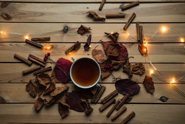 Xícara de chá de canela com folhas secas e canela em pau ao redor.