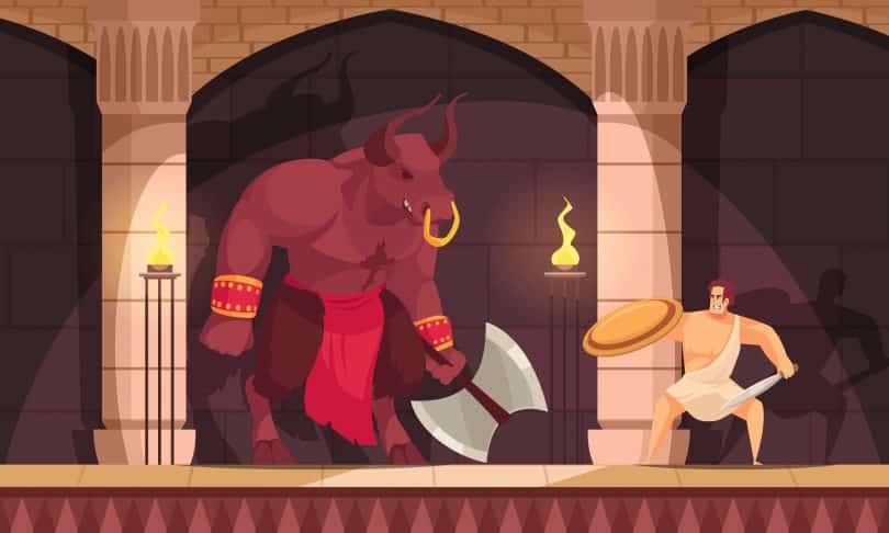 Ilustração de homem lutando com um touro.