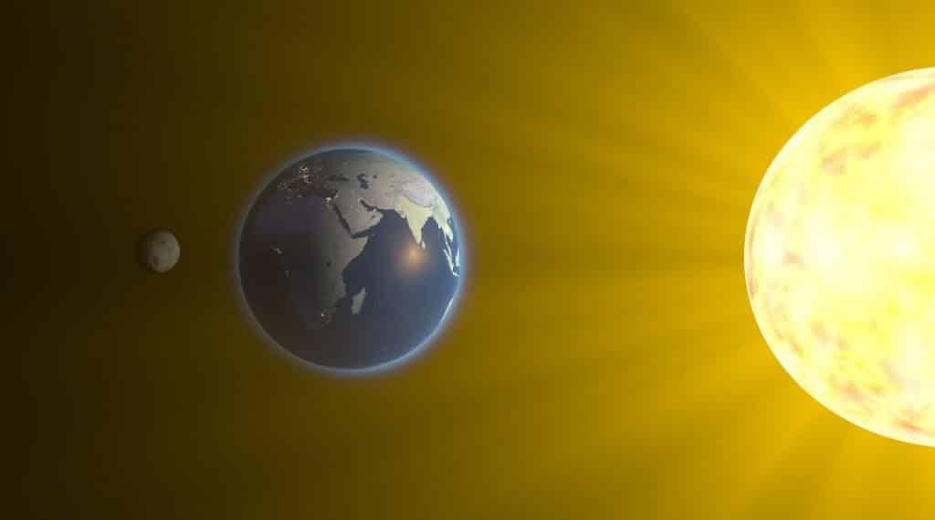 Ilustração do sol, da terra e da Lua