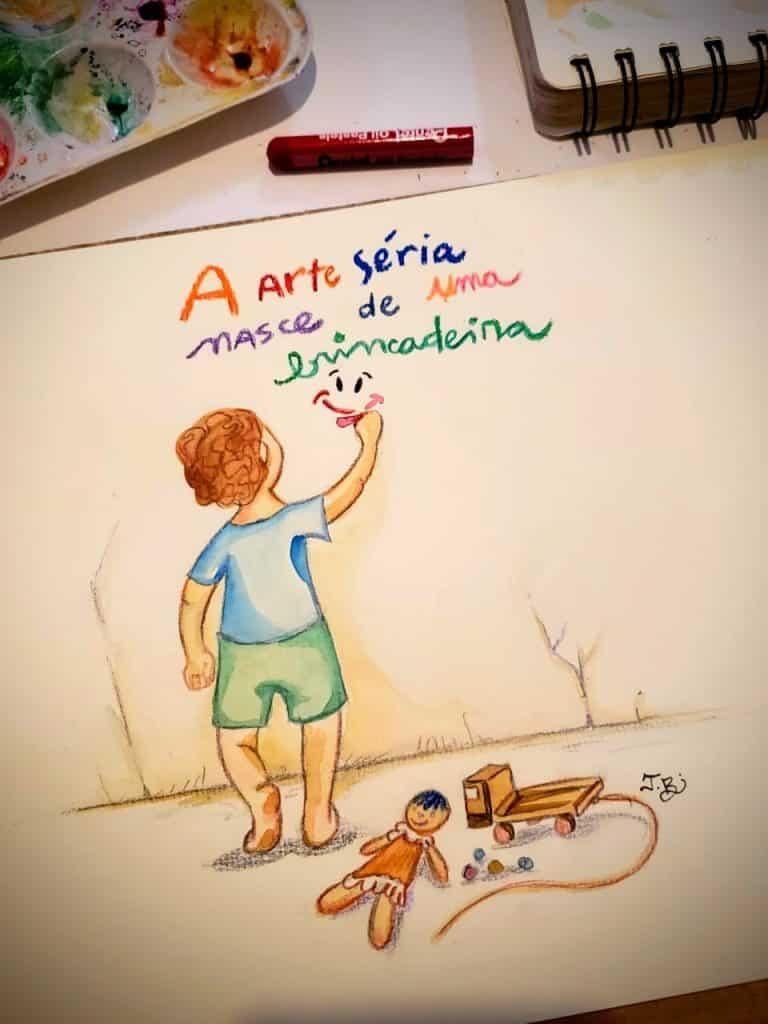 Desenho de uma criança brincando.
